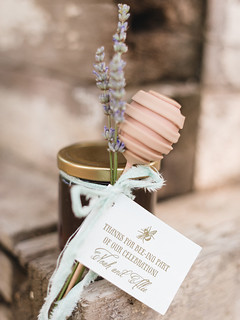 "Honey Jar Wedding Favor Tied with Cake Pop ""Honey Dipper"" 