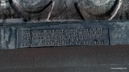 Detail of plaque describing bombing of Kelvinway statuesin 1941 | by Internet & Digital