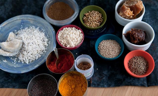 Ingredients for Bharli Vangi, stuffed eggplant