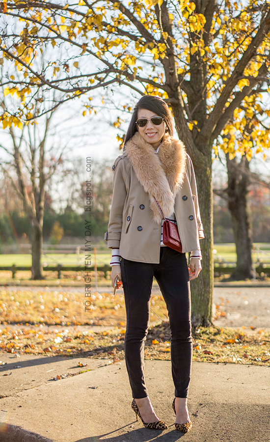 faux fur scarf, camel trench cape, striped turtleneck, red crossbody bag, black skinny pants, leopard pumps