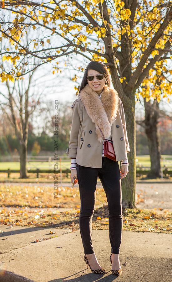 faux fur scarf, camel trench cape, striped turtleneck, red crossbody bag, black skinny pants, leopard pumps