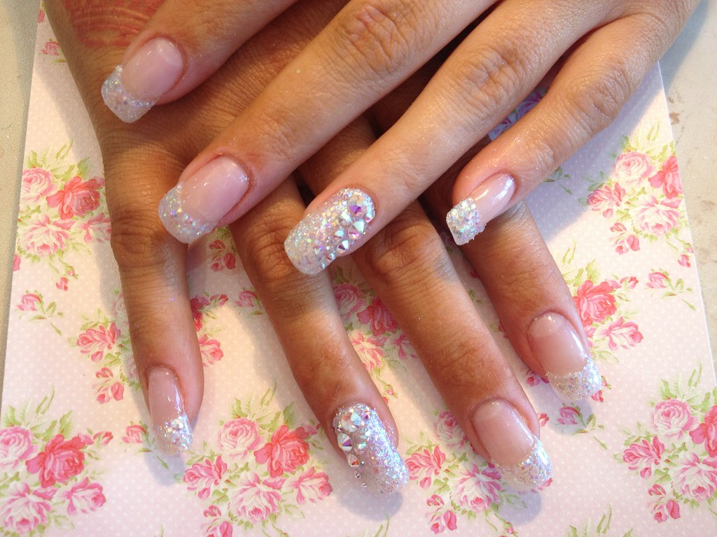 Acrylic nails with glitter dust in tips and full ring fing… | Flickr