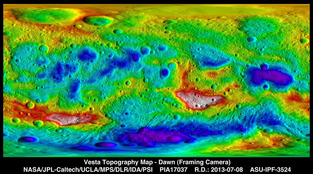 Vesta Topography Map This Colorcoded Topography Map From Flickr - Nasa topographic map
