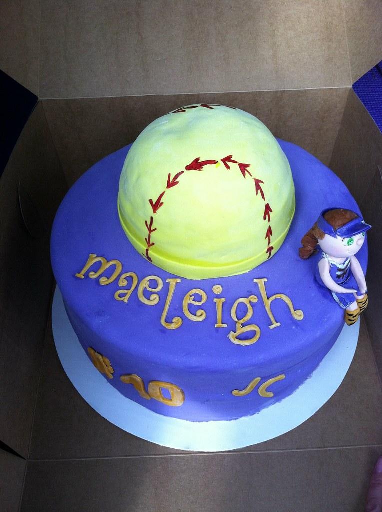 Softball Birthday Cake Blue Cupcake By Geo Flickr
