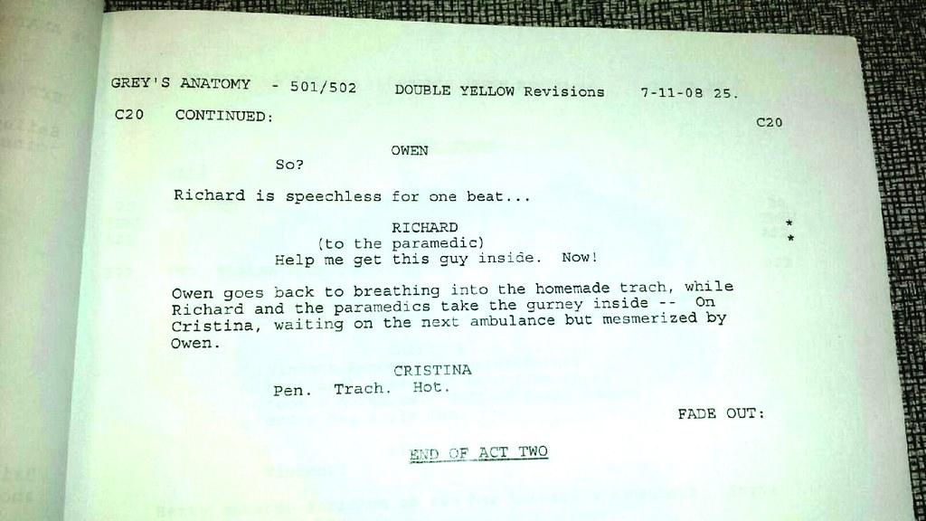 AUTOGRAPHED Grey\'s Anatomy Script 501/5012 - first meet sc… | Flickr
