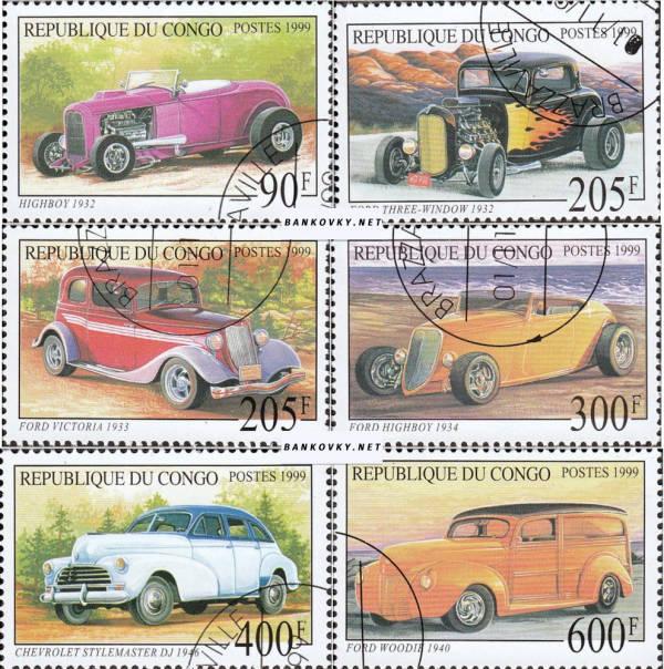 Známky Kongo 1999 Historické automobily, razÃ-tkovaná séria