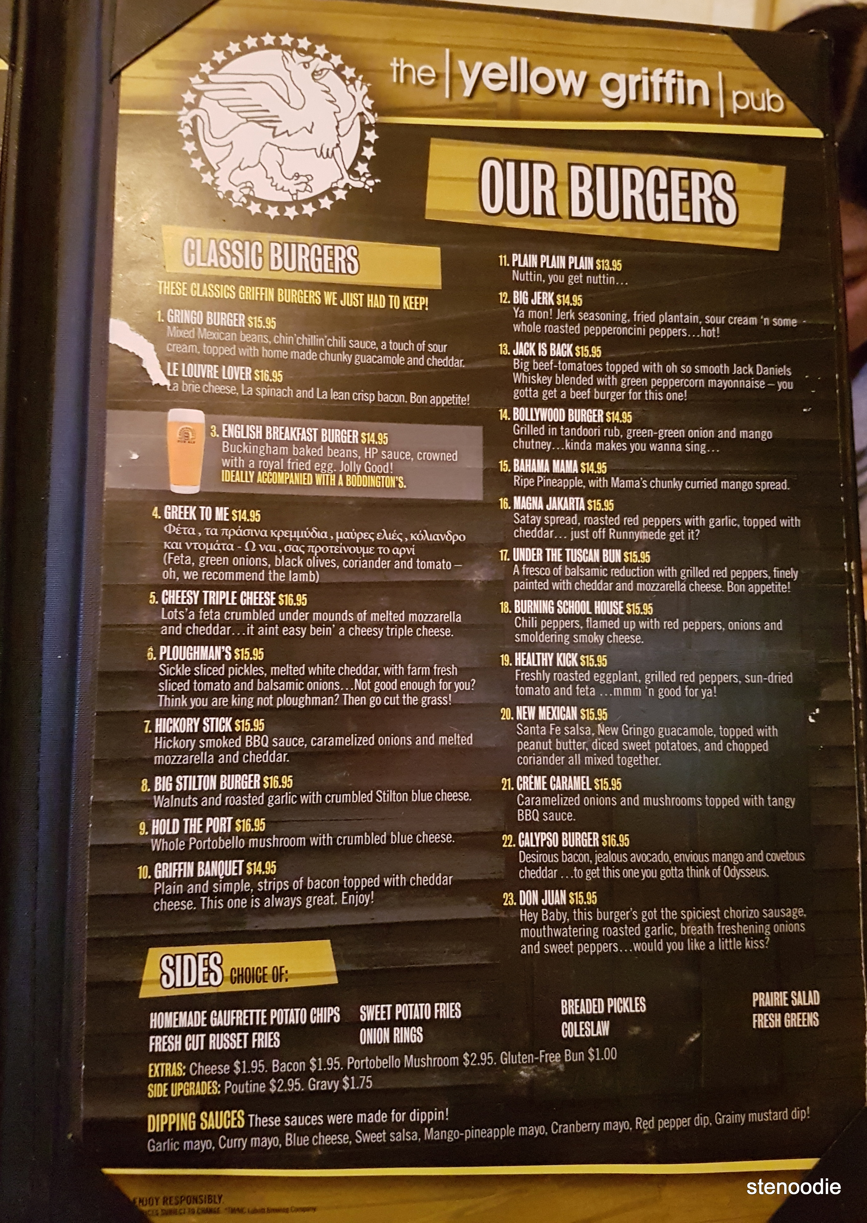 Yellow Griffin Pub burger menu