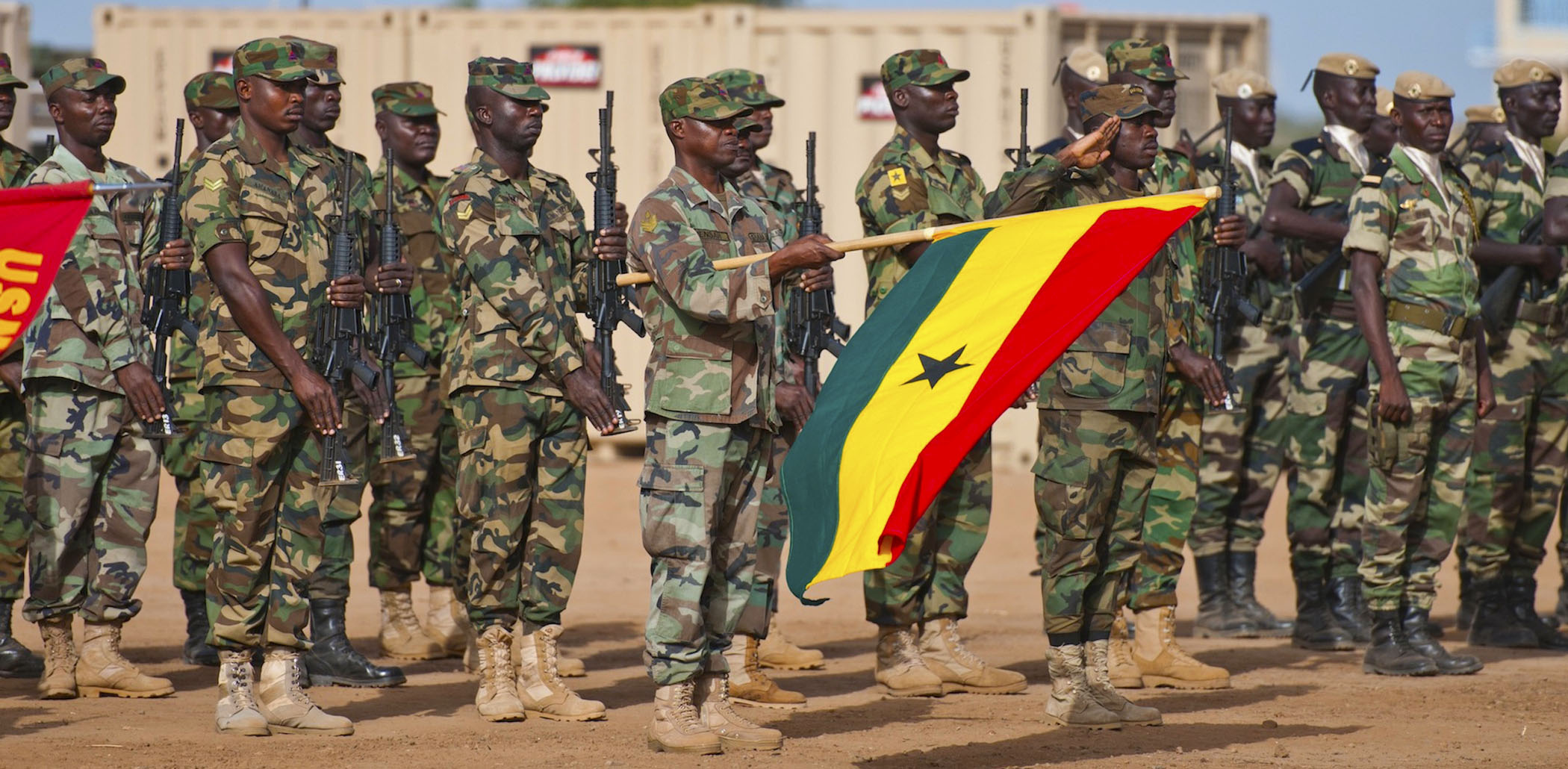 West African militaries and U.S. forces participate in opening ceremonies for exercise WA 14