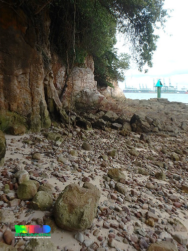 Natural rocky shores and cliffs at Sentosa