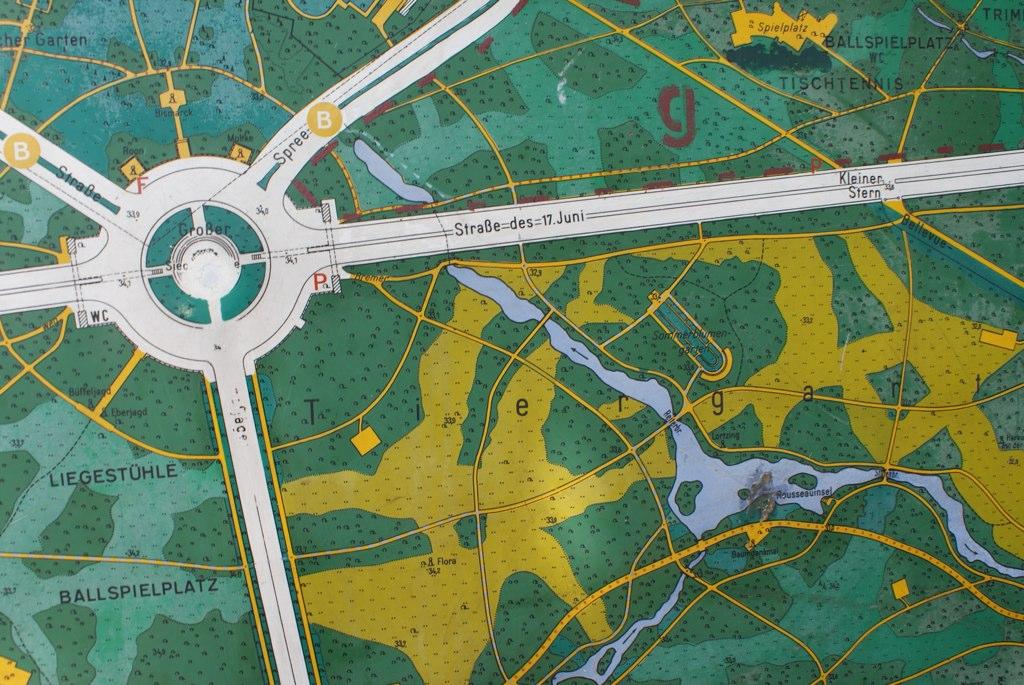 Bout de carte du parc du Tiergarten à Berlin : Plus pour le plaisir de la carte que pour son utilité.