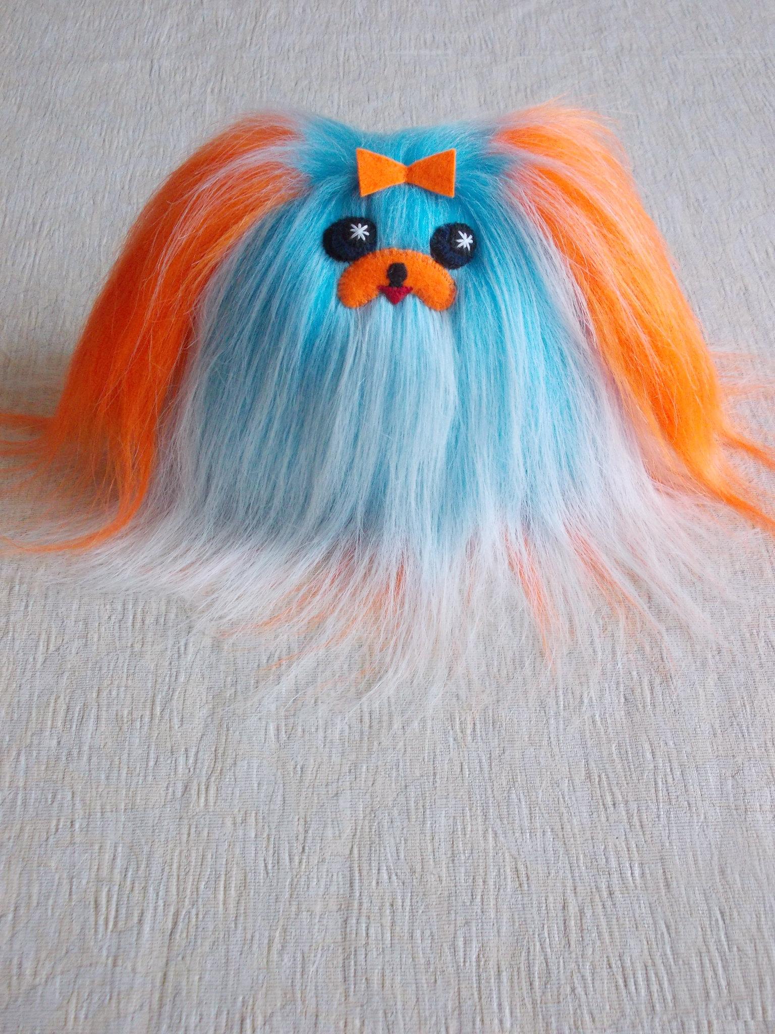 Plush dog_ fluffy dog_fuzzy dog_ furry dog_ small dog_childrens dog_stuffed dog_ blue orange dog_10