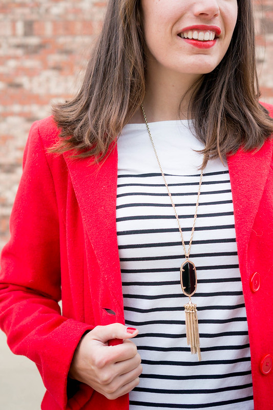 red coat + black and white stripe tee + loft jeans + kendra scott black necklace + gray Merona wedges | Style On Target blog