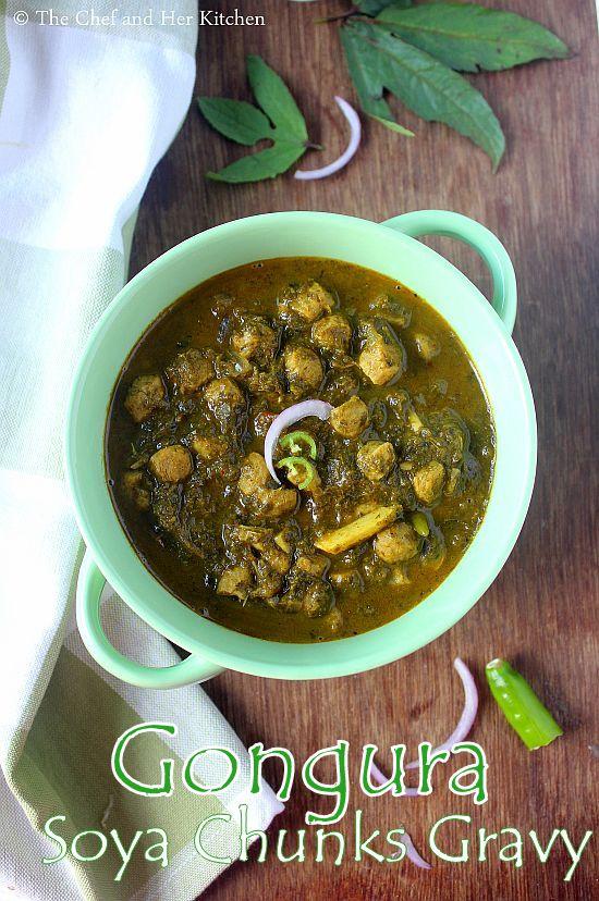 gongura soya chunks curry