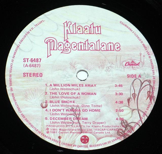 """Klaatu Magentalane 12"""" vinyl LP"""