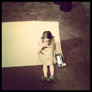 Bring child to tech. Child creates paper bag dress. Child blends in with set.  Children of thespians are nothing short of amusing. | by serahrose