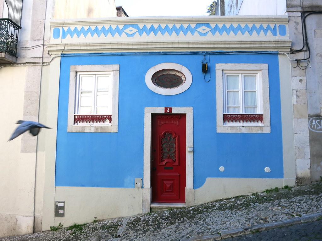 Blue House With Red Door White Trim Bird Kathejo Bohlman Flickr