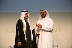 Hesham Abdulla Al Qassim, Vice Chairman and Managing Director, Emirates NBD, UAE, receiving the ABLF Business Excellence Award from H.H. Sheikh Nahayan Mabarak Al Nahayan, Minister of Culture and Knowledge Development, UAE