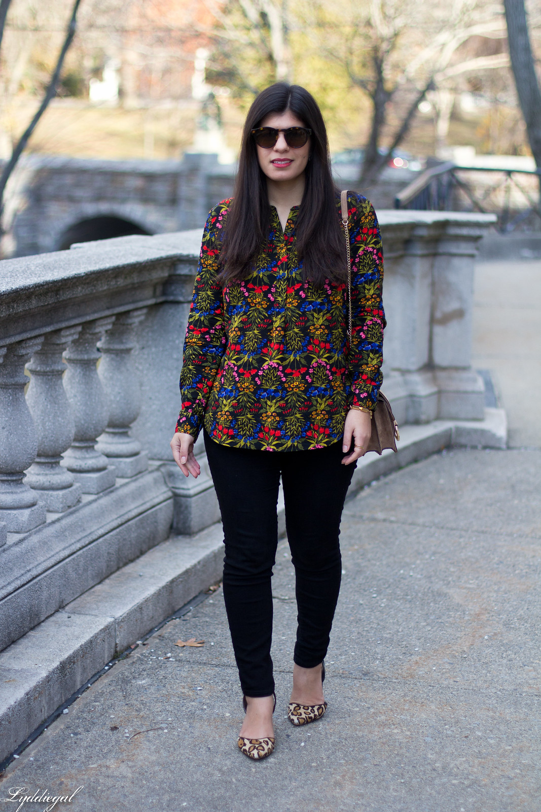 dark floral blouse, leopard pumps, banana republic accordion bag-1.jpg