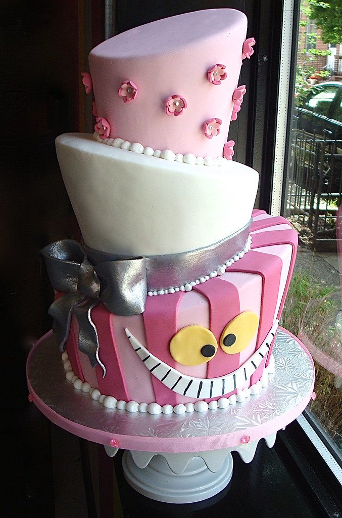 Cheshire Cat Themed Topsy Turvy Cake A 30th birthday cake Flickr