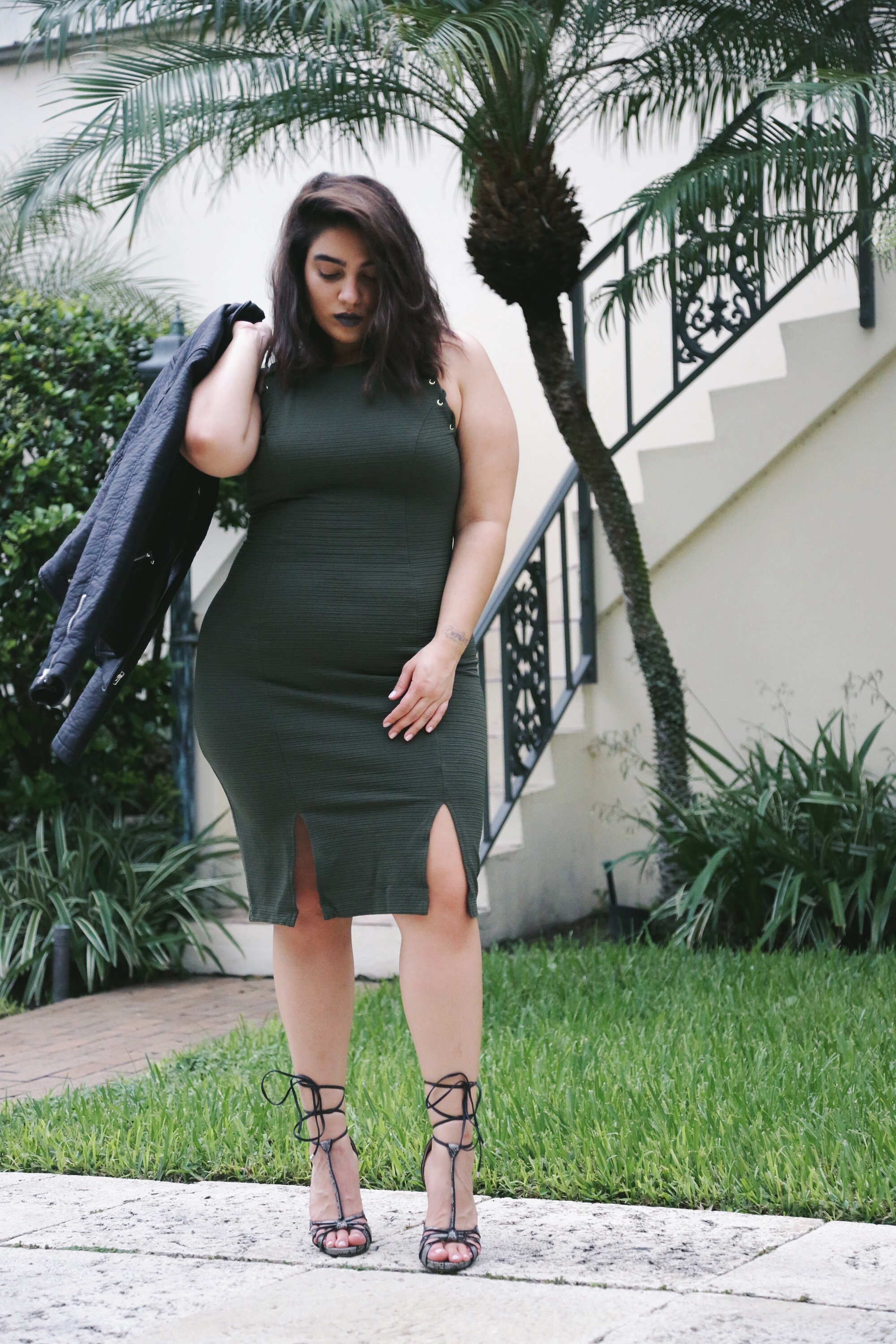 bodycon khaki dress