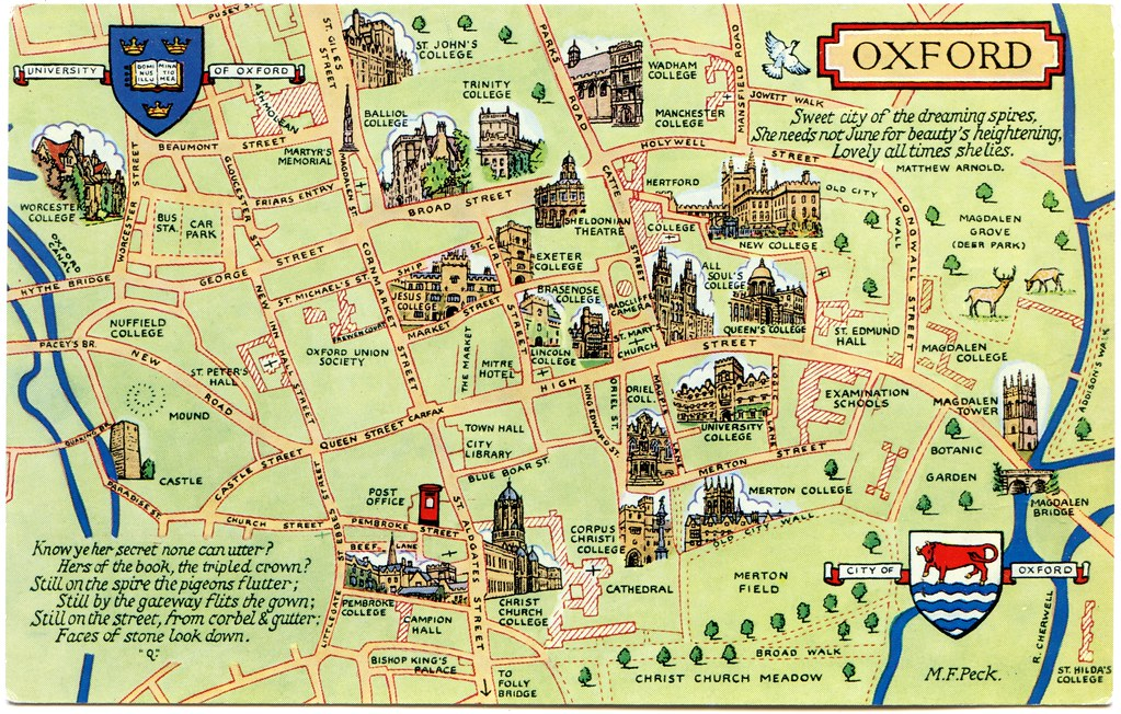 Map Of Oxford Postcard map of Oxford | Drawn by M F Peck. J Salmon Ltd., S… | Flickr Map Of Oxford