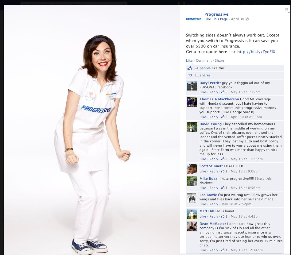 Progressive insurance facebook flo advertising fails