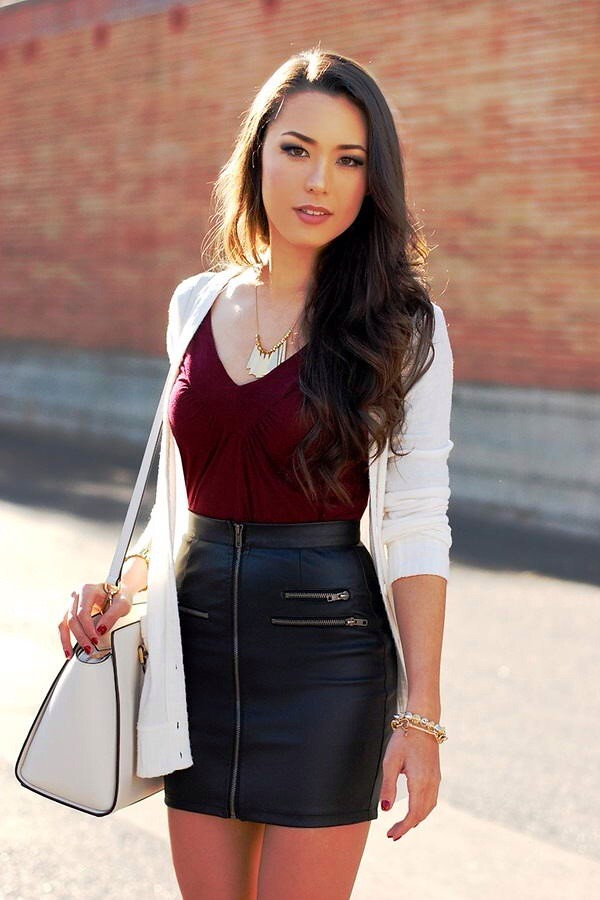 White cardigan burgundy shirt & black leather skirt | Flickr