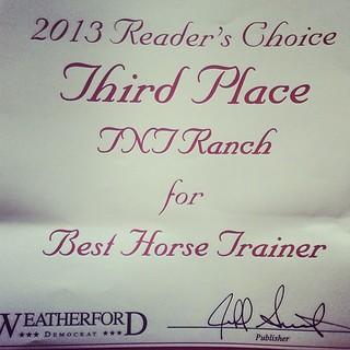 Nice surprise came in the mail today!! Readers choice award for us!! #weatherford #texas #horses #horsetrainer #award #tntranch #tnthorses #colttrainer #tomandtracidavis | by tanyerhide