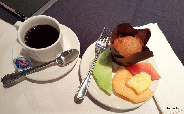 coffee, muffin, and fruits
