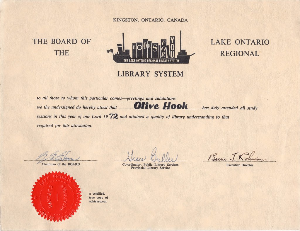 Olive Hooks Library Certificate 1972 Olive Hook Obtaine Flickr