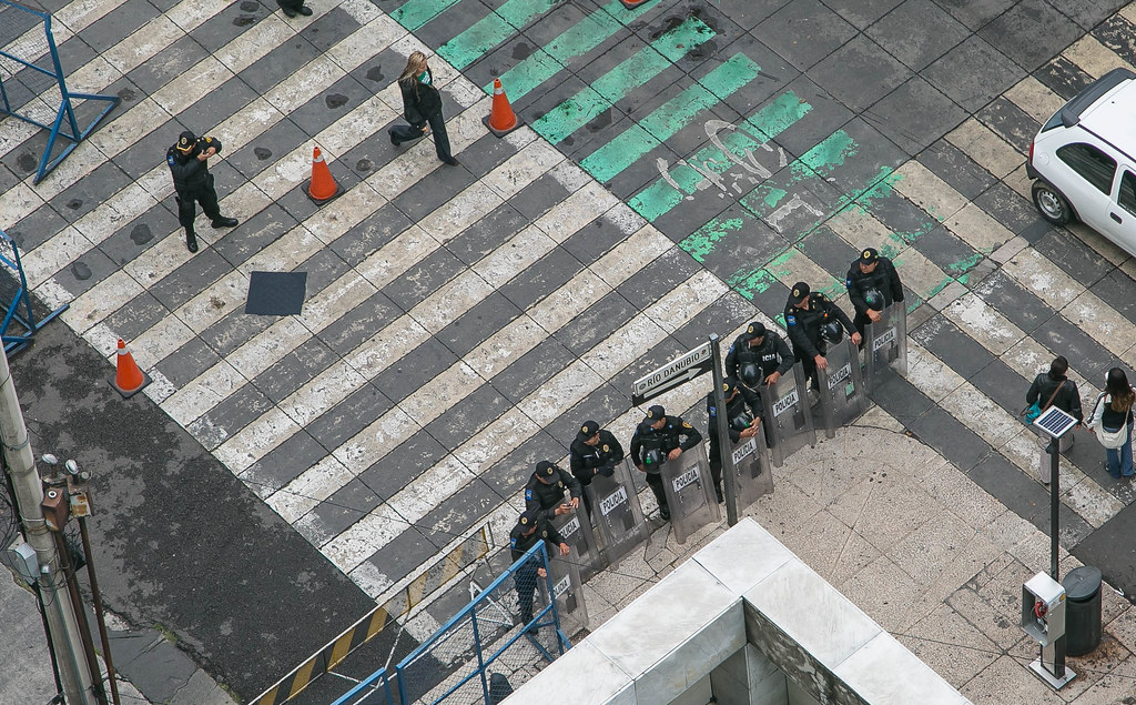 Police Barricade U S  Embassy in Mexico City   Steve Bunting