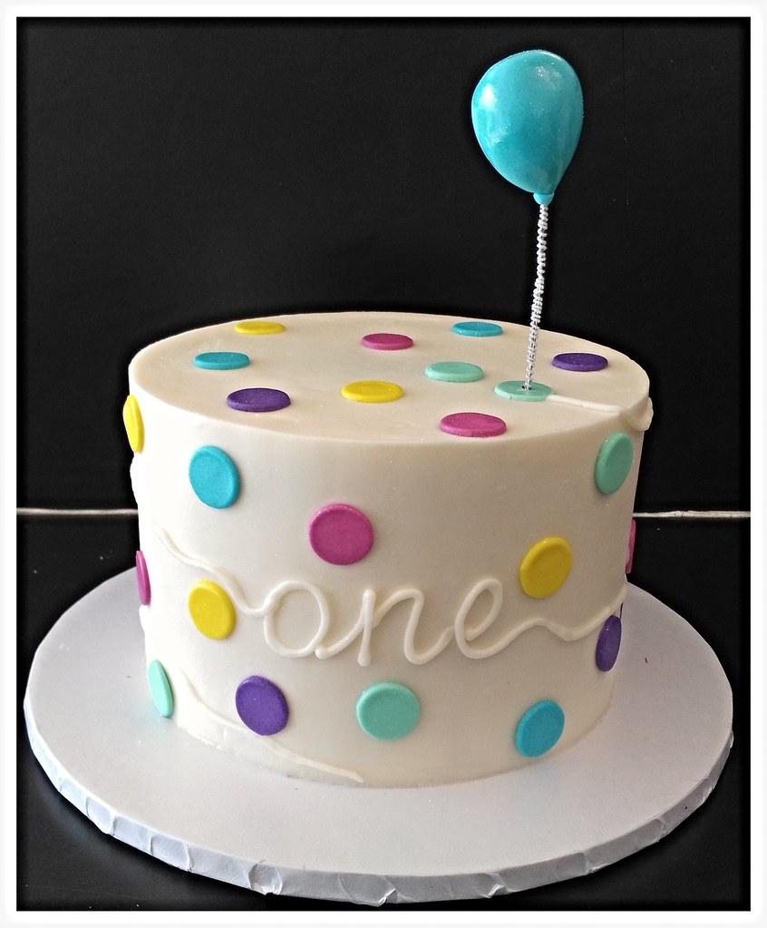 One Year Birthday Balloon Cake