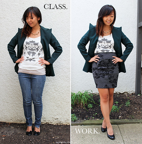 forest green blazer class and work outfit transition | by pandaphilia