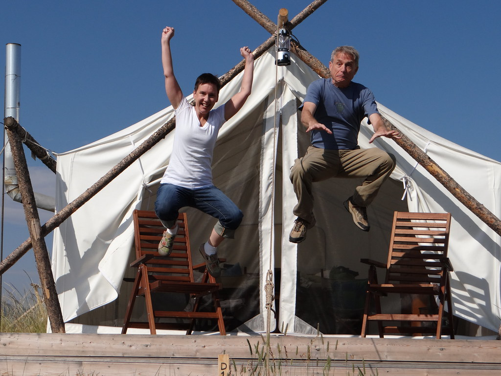 glamping jump close up