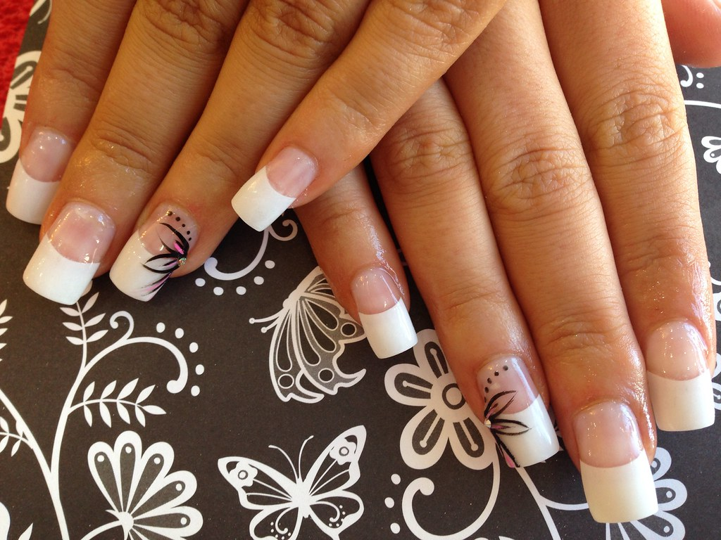 Acrylic nails with white tips ee hand nail art in black flickr acrylic nails with white tips ee hand nail art in black pink swarovski prinsesfo Image collections