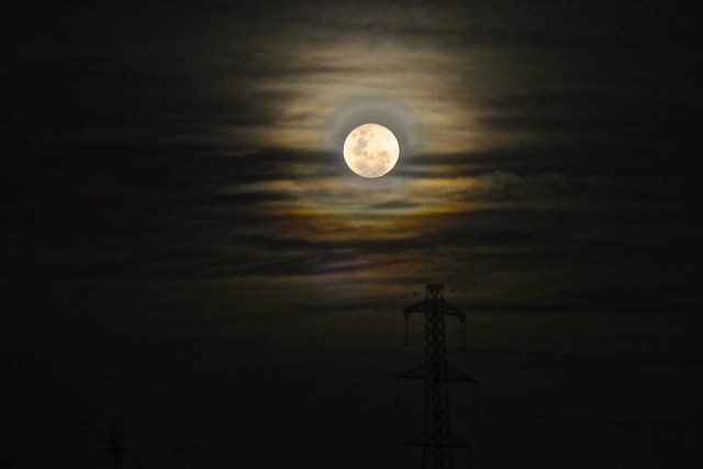 Full Moon and Power Line