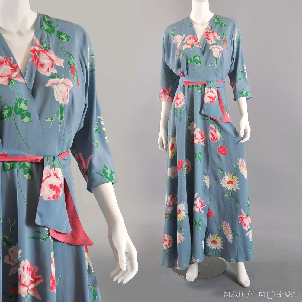Ruby Lane Vintage Textron 1940\'s Floral Dressing Gown Robe… | Flickr