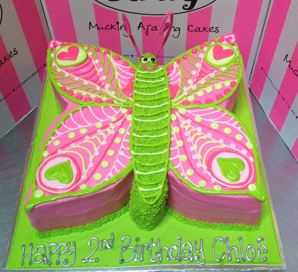 2D Flat cutout butterfly shaped cake with piped details Flickr