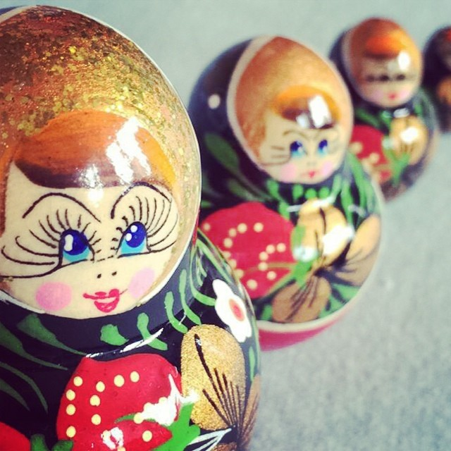 Found this charming set of #Russian #nesting #dolls in #Paris. On their way to Maryland now for a friend. #nestingdolls #strawberry #handpainted