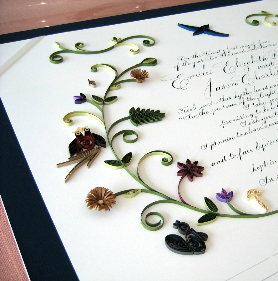 Quilled Quaker Marriage Certificate - Detail | Quilling by A… | Flickr