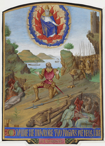 Hours of Etienne Chevalier - caption: 'David, in armour, kneeling in penitence before the Almighty with his army. In the foreground, a corpse with devils torturing souls' | by The British Library