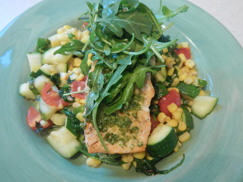 Grilled Salmon With Zucchini, Corn, Spinach and Tomatoes | by Victoria Rothacker