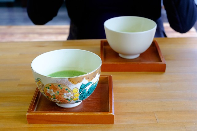 Matcha served in intricately painted bowls at Wazuka-cha cafe.