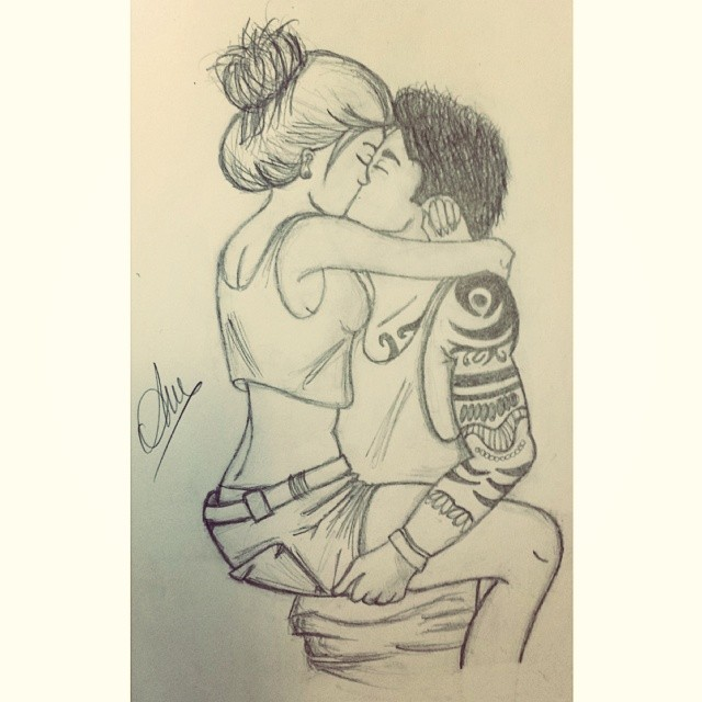 This is love  Dibujo Chica Chico Amor Beso Abrazo   Flickr
