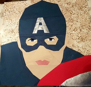 Paper pieced Superhero CAPTAIN AMERICA. Patterns on Fandominstitches.com Pieced by Hannah Hughes