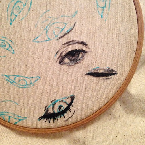 #embroidery #eyes #stitch #illustration #embroideryhoop #thread #eye | by sparklymouse