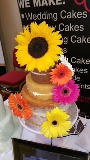 Sunflower / Gerbera naked wedding cake | by platypus1974