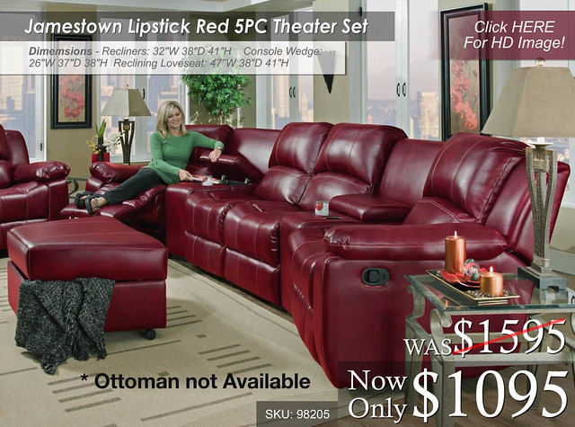Jamestown Lipstick Red Reclining Theater Set - 98205