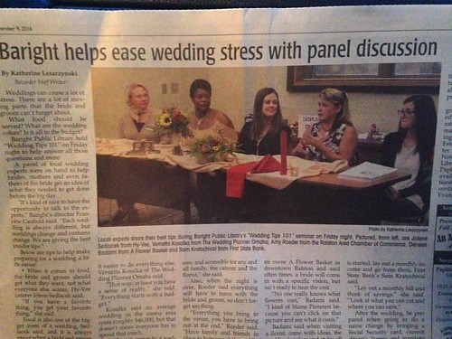 The Ralston Baright Library Wedding Professional's Panel Discussion was a hit! We're looking to do it again in February!