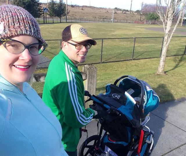 First walkies session with son/dogs: complete! Although we did have to pull over on the way to the park for a breastfeeding session.